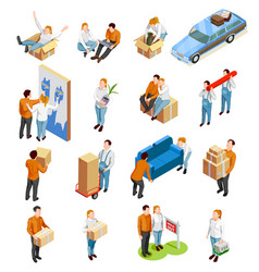 Moving people isometric set vector