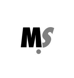 Ms m s black white grey alphabet letter logo icon vector