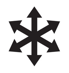 Multiple arrow six way direction icon vector