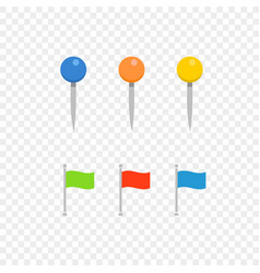 navigation pins and flags isolated on transparent vector image