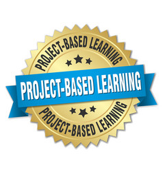 Project-based learning round isolated gold badge vector