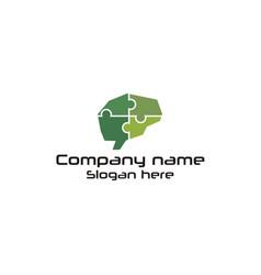 puzzle brain logo vector image
