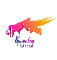 Ramadan kareem design with colorful paint splash vector