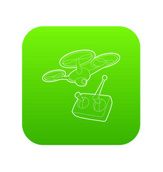 Rc helicopter icon green vector