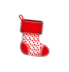 Red christmas socks with fur and red points vector