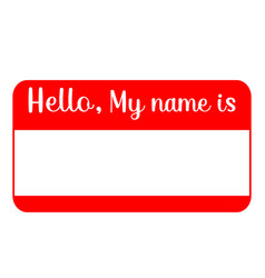 Red name tag empty sticker hello my name is vector