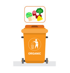 Rubbish container for organic waste icon recycle vector