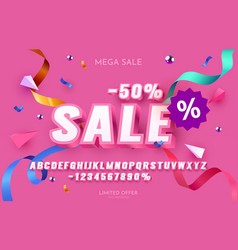 sale -50 font set collection letters and numbers vector image