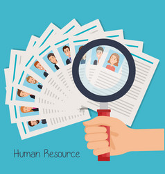 Set curriculum vitae with hand and magnifying vector