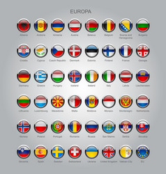Set of round glossy flags of all sovereign vector