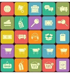 set shopping icons in flat design vector image