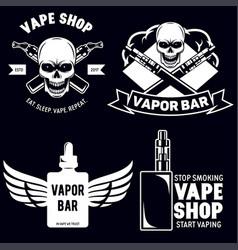 Set vape e-cigarette emblems labels prints and vector