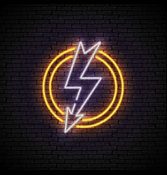 shining and glowing white lightning neon sign vector image