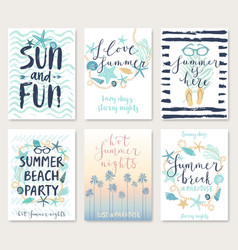 summer hand drawn calligraphy card set vector image