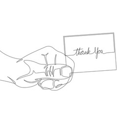 thank you card one line abstract icon vector image