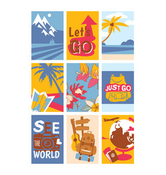 travelling concept set banners see world vector image