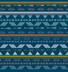 Tribal blue seamless repeat pattern vector