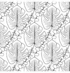 Tropical leaves pattern seamless vector image