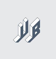 Ub - monogram or logotype isometric 3d font for vector