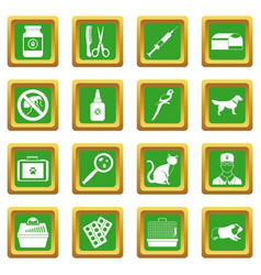 Veterinary icons set green vector