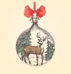 Vintage christmas ball deer and pine trees vector