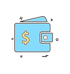 wallet money dollar icon design vector image