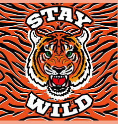 Wild tige head print vector