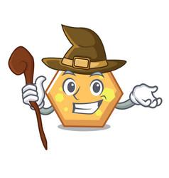 witch hexagon mascot cartoon style vector image