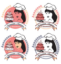 Woman confectioner with cake vector