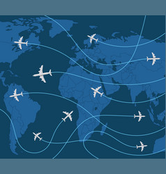 World travel concept with airplane vector
