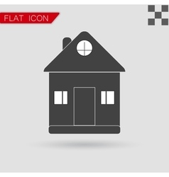 Black Home icon Flat Style with red vector image