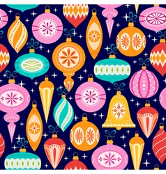 Christmas ornaments pattern on dark blue vector image vector image