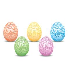 decorative easter eggs - floral ornament vector image