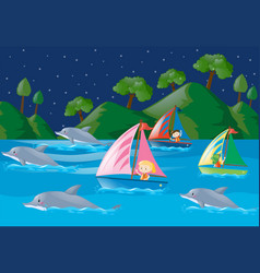 Dolphins and kids in the ocean vector