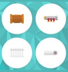 Flat icon sanitary set of radiator pipe pipework vector