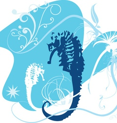 two seahorses vector image vector image