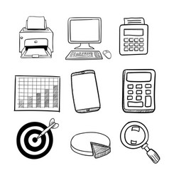 doodle business icon set 2 - hand drawn vector image vector image