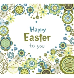 Easter greeting card with floral frame in heart vector image