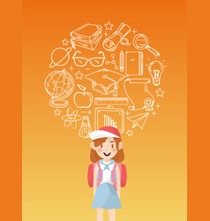 girl student with education icons vector image