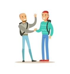 Happy Best Friends Shaking Hands Meeting Part Of vector image vector image