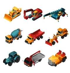 Isometric Construction Machines vector image vector image