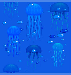 jellyfishes in seamless pattern stock vector image vector image