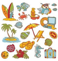 Seaside doodles vector image