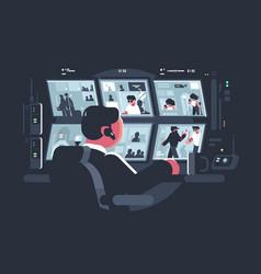 security watching surveillance cameras vector image vector image