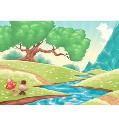 Cartoon landscape with stream vector image vector image