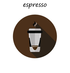 coffee cup icon with long shadow flat design vector image