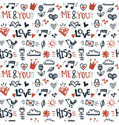 doodle romantic hand drawn seamless pattern vector image
