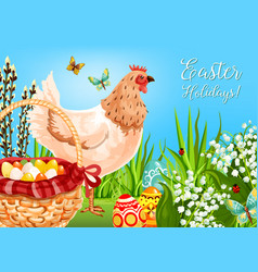 easter chicken with eggs greeting card design vector image