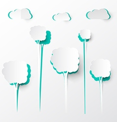 Paper Cut Trees and Clouds Background vector image vector image