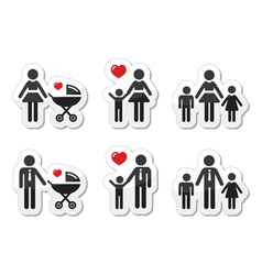 Single parent sign - family icons as labels vector image vector image